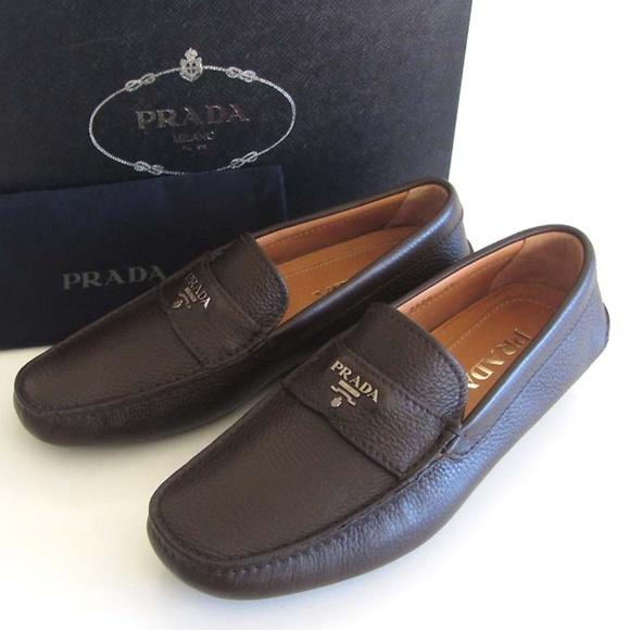 9e69bbe2000230 Prada Shoes | Logo Pebbled Driving Loafers 65 75 Us | Poshmark